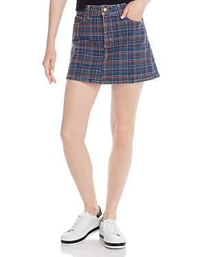 Alice + Olivia Rainbow-Embroidered Denim Mini Skirt
