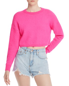 Bardot - Cropped Fluffy Sweater