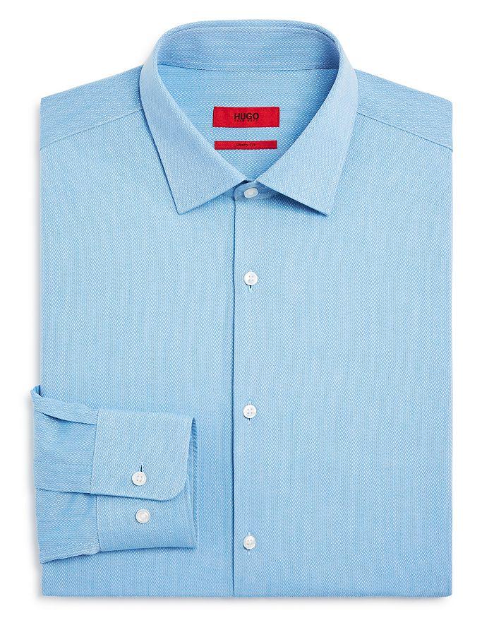 HUGO - Textured Solid Regular Fit Dress Shirt