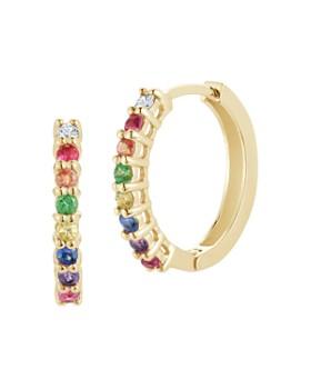 MATEO - 14K Yellow Gold Rainbow Gemstone & Diamond Huggie Hoop Earrings