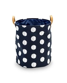 Honey Can Do - Coastal Collection Portable Laundry Bin, Navy and Grey Dot