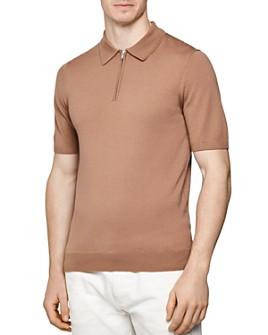 REISS - Maxwell Merino Wool Slim Fit Zip Polo Shirt