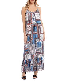Karen Kane - Ruffled-Hem Patchwork Maxi Dress