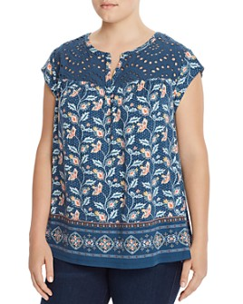 Daniel Rainn Plus - Printed Eyelet-Yoke Top