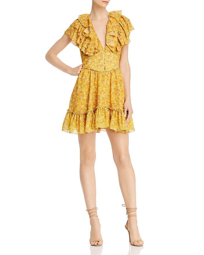 Divine Heritage - Floral Ruffled Shirt Dress