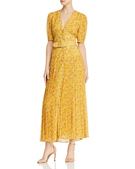 Divine Heritage - Floral Pleated Maxi Dress