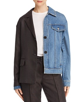 SJYP - Split Denim/Houndstooth Jacket