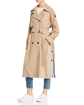 SJYP - Stripe-Trimmed Woven Trench Coat