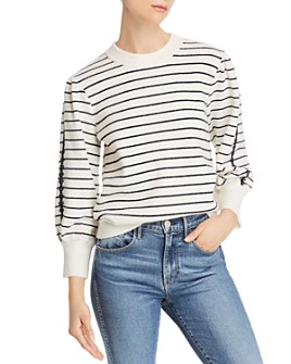SJYP - Striped Embroidered-Sleeve Sweater
