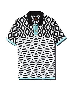 MAXHOSA BY LADUMA - Geometric-Pattern Silk Regular Fit Polo Shirt