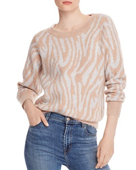 Rebecca Taylor - Fuzzy Tiger-Striped Sweater