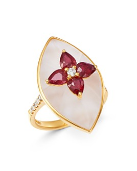 Bloomingdale's - Ruby, Rock Crystal & Diamond Ring in 18K Yellow Gold - 100% Exclusive