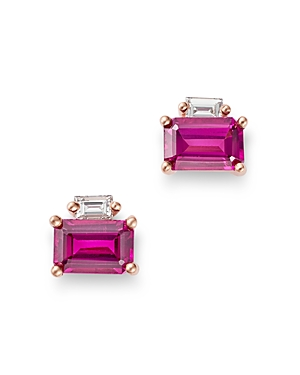 Bloomingdale's Rodholite & Diamond-Accent Stud Earrings in 14K Rose Gold - 100% Exclusive