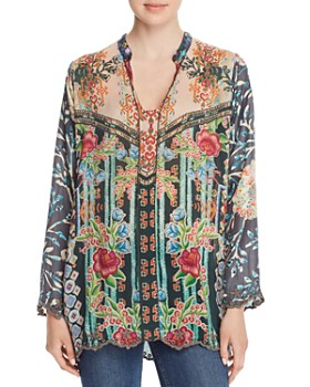 Johnny Was - Parnel Embroidered Silk Blouse