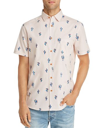 Sovereign Code - Short-Sleeve Cactus-Print Slim Fit Shirt