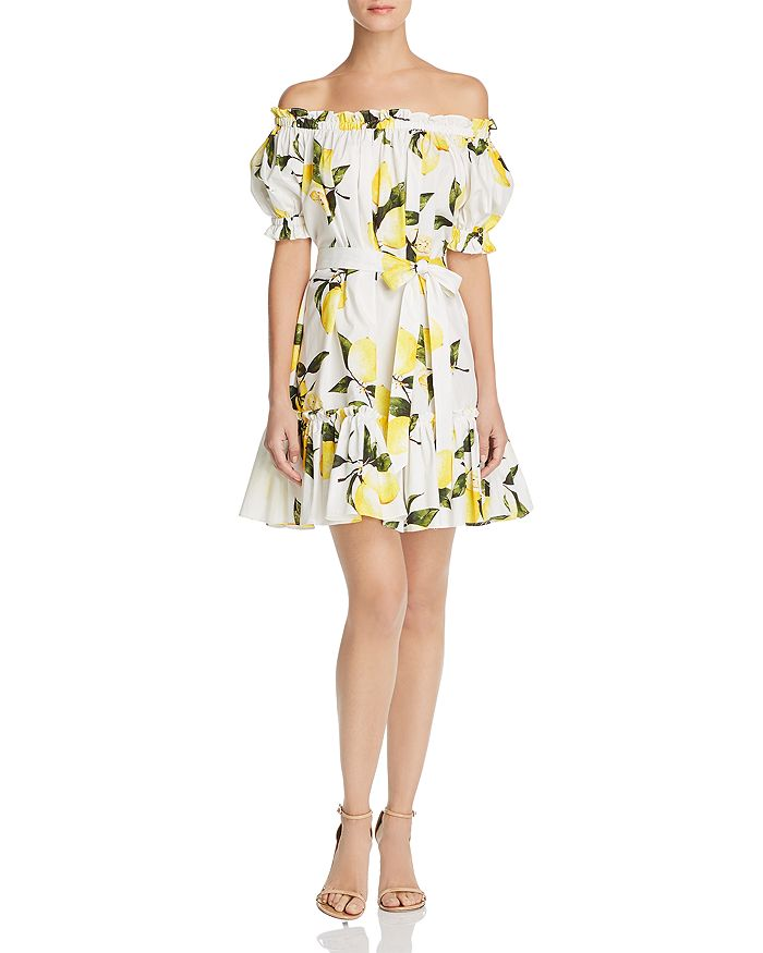 AQUA - Off-the-Shoulder Lemon Print Dress - 100% Exclusive