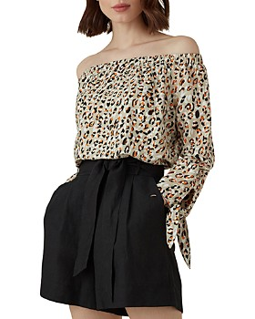 KAREN MILLEN - Leopard Print Off-the-Shoulder Top