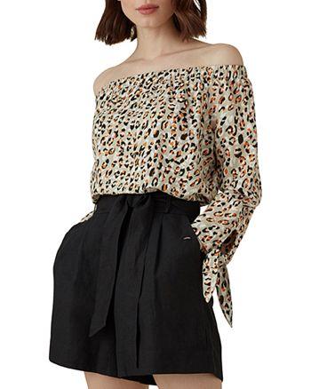 KAREN MILLEN - Leopard Print Off-the-Shoulder Top