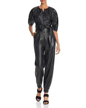 Rebecca Taylor - Zip-Front Vegan Leather Jumpsuit