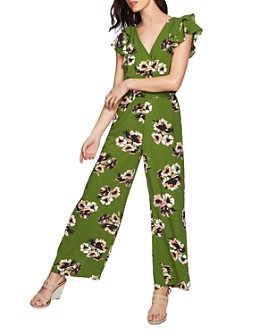 1.STATE - Ruffled-Sleeve Floral-Print Jumpsuit