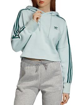 Adidas - Triple Stripe Cropped Hooded Sweatshirt