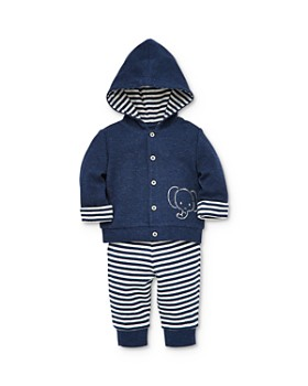 Little Me - Boys' Elephant Jacket, Bodysuit & Striped Jogger Pants Set - Baby