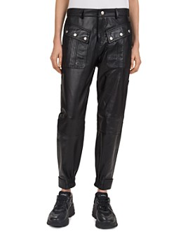 The Kooples - Snap-Detail Leather Jogger Pants