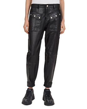 0ddfe683d48 The Kooples - Snap-Detail Leather Jogger Pants ...
