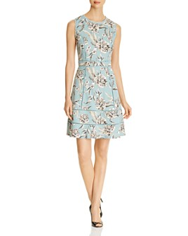 KARL LAGERFELD Paris - Lace-Trim Fit-and-Flare Dress
