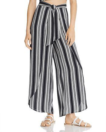 AQUA - Striped Wide-Leg Flyaway Pants - 100% Exclusive