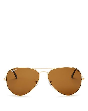 Ray-Ban - Unisex Polarized Brow Bar Aviator Sunglasses, 62mm