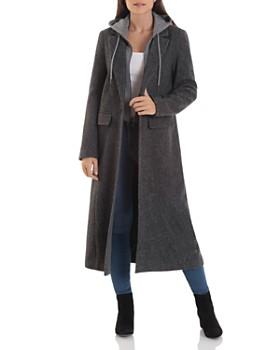 Avec Les Filles - Wool-Blend Maxi Coat with Knit Hoodie