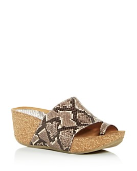 Donald Pliner - Women's Ginie Snake-Embossed Platform Wedge Slide Sandals