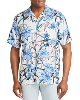 Tommy Bahama - Bungalow Short-Sleeve Bamboo-Pattern Classic Fit Silk Shirt