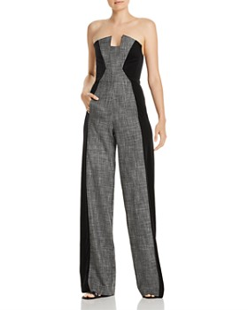 Black Halo - Lena Strapless Color-Block Jumpsuit