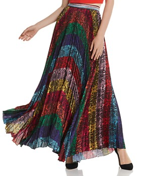 Alice and Olivia - Katz Rainbow Snake Print Pleated Maxi Skirt