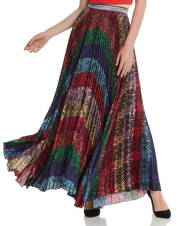 Alice and Olivia - Katz Rainbow Snake Print Pleated Maxi Skirt