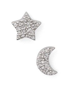 Bloomingdale's - Mismatched Half Moon & Star Diamond Earrings in Sterling Silver - 100% Exclusive