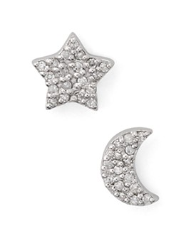 Bloomingdale's - Mismatched Half Moon & Star Diamond Earrings in Sterling Silver - 100% Exclusive