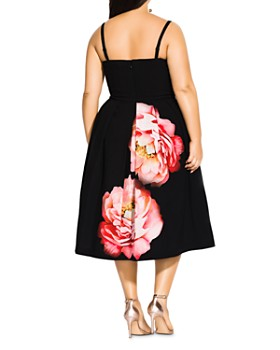 City Chic Plus - Sublime Bloom Graphic Convertible Strapless Dress
