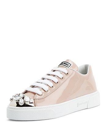 Miu Miu - Women's Patent Leather Low-Top Sneakers