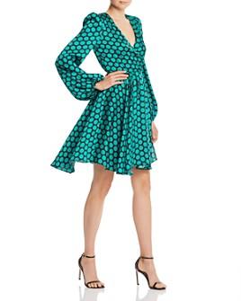 MILLY - Siena Dot Print Twill Wrap Dress