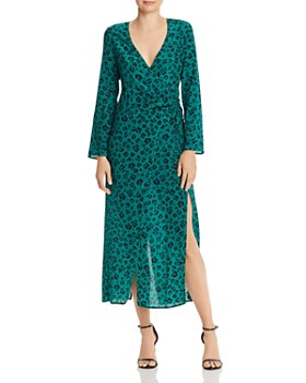 Suboo - Dotted Leopard Faux Wrap Dress