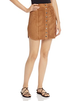BB DAKOTA - Snap-Front Faux Suede Skirt