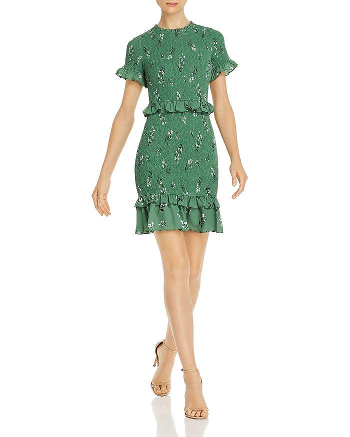 LIKELY - Faye Smocked Ruffled Floral Mini Dress
