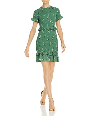 Likely Dresses FAYE SMOCKED RUFFLED FLORAL MINI DRESS
