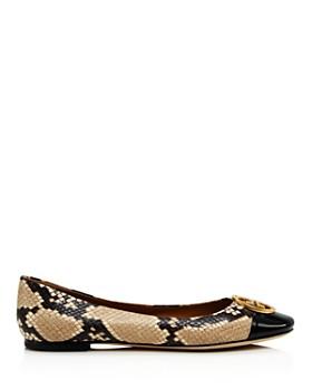 Tory Burch - Women's Chelsea Snake-Print Cap Toe Ballet Flats
