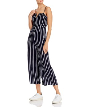 AQUA - Notched Striped Jumpsuit - 100% Exclusive