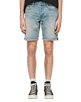 ALLSAINTS - Switch Distressed Denim Shorts in Light Indigo Blue
