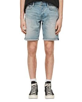 ALLSAINTS - Switch Distressed Denim Shorts in Light Indigo Blue